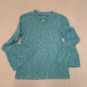 Super soft fleece aqua sweater with bell sleeves